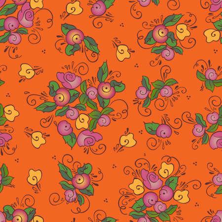 seamless orange rose pattern Illustration