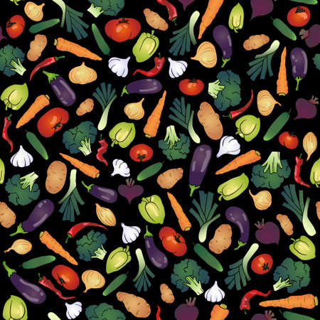 seamless vegetables black background Vector