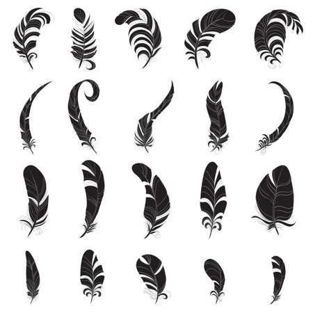 Veer silhouette set Stock Illustratie