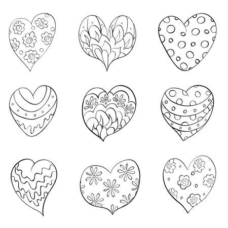 set of different isolated  hearts