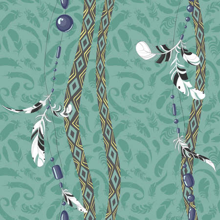 softly: Dreamcatcher feathers vector background pattern
