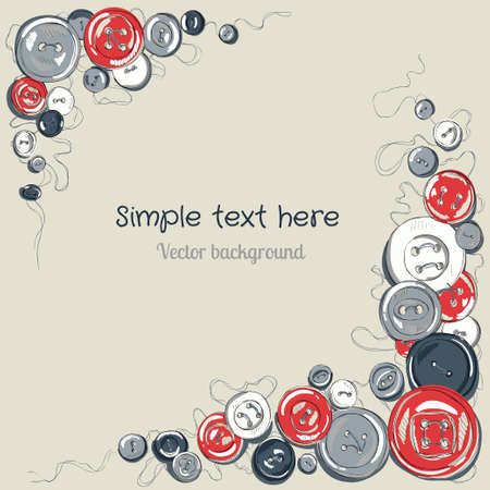 sewed buttons frame Vector