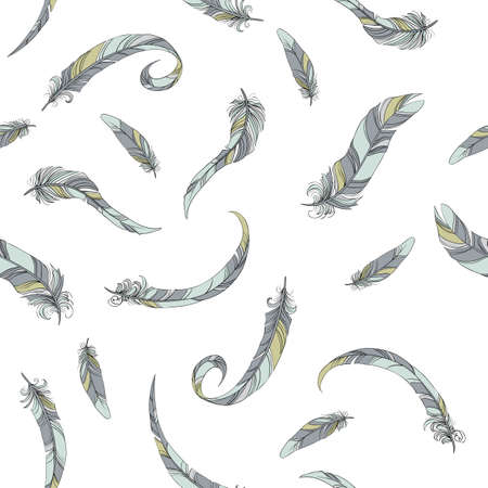 easiness: thin feathers seamless vector pattern