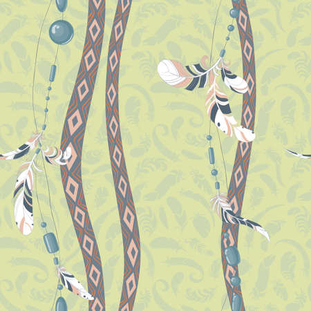 swelled: Dreamcatcher feathers vector background pattern
