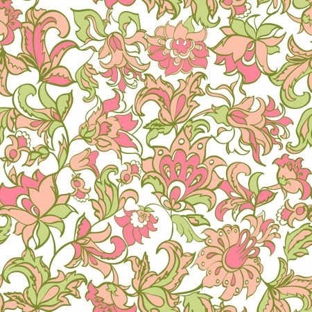 ethnic flowers seamless vector Vector