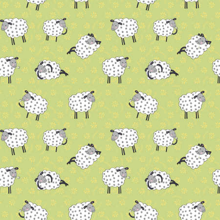 Seamless pattern with cartoon sheeps.Kids vector background. Vector