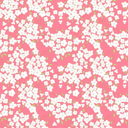 little flowers and  leaves seamless pattern