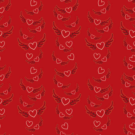 winged: winged hearts seamless pattern
