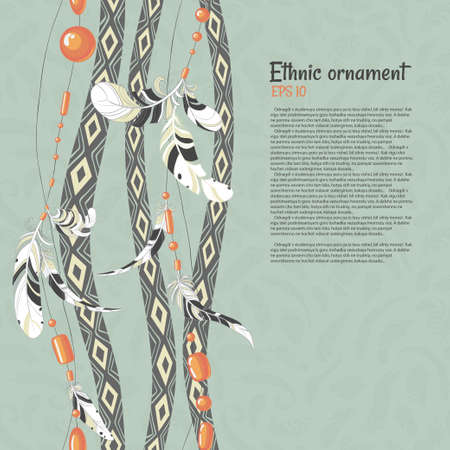 softly: Ethnic feathers and beads vector background Illustration