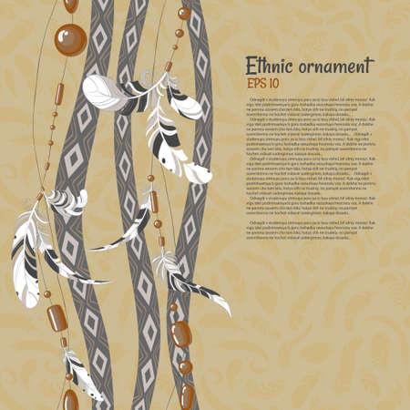 Etnische veren en kralen vector achtergrond Stock Illustratie