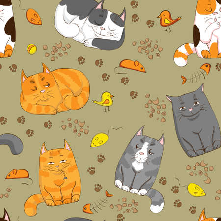 Cartoon seamless pattern with cute cats Vector