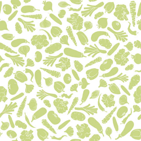 Seamless pattern with silhouette vegetables Vector