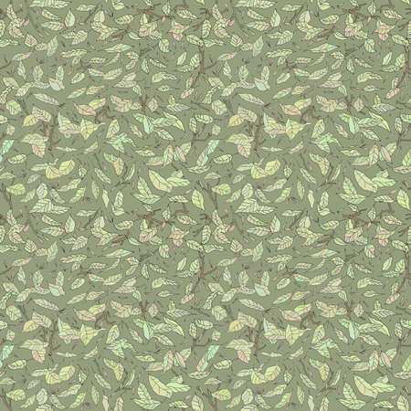 fallen: colorful fallen leaves and branches seamless pattern. autumn background