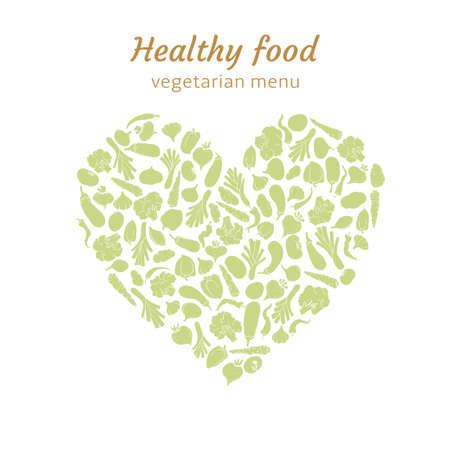 Healthy vegetable heart Vector