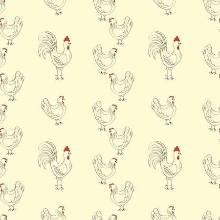 chickens seamless pattern background Vector