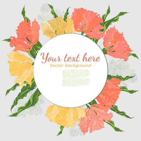 Colorful greeting card with flowers bouquet composition.  Vector