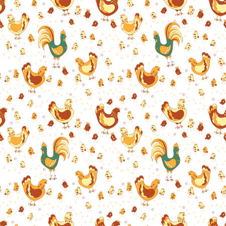 rooster hen and chicks seamless pattern