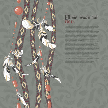 Ethnic feathers and beads vector background Reklamní fotografie - 37264049