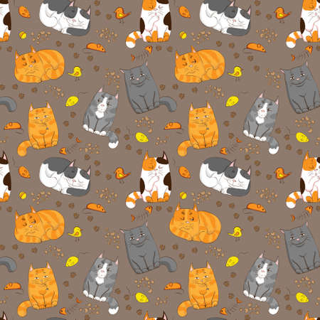 flower clipart: cute cats seamless pattern Illustration