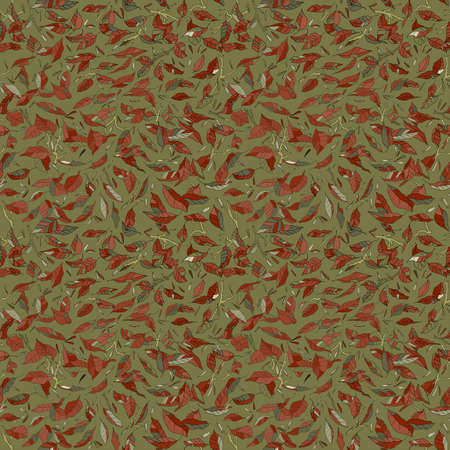 colorful fallen leaves and branches seamless pattern. autumn background