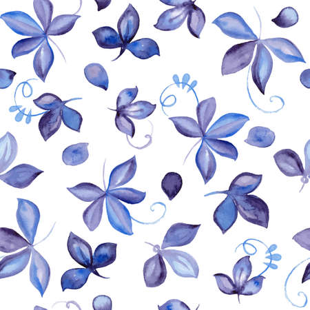 Seamless pattern with beautiful hand drawn watercolor leaf