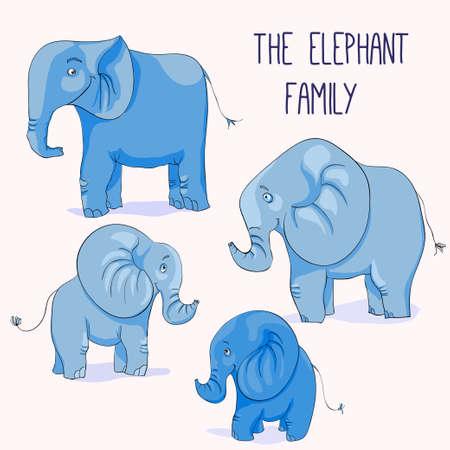 Illustration of Cute cartoon elephant family Vector