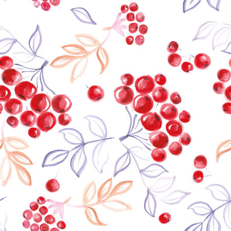 raceme: vector watercolor seamless rowan pattern. Background, pattern, cover, print, wrapping paper.