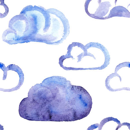 aquarel wolken naadloos patroon