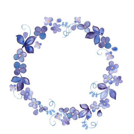 Hand geschilderd aquarel bloemen krans Stock Illustratie