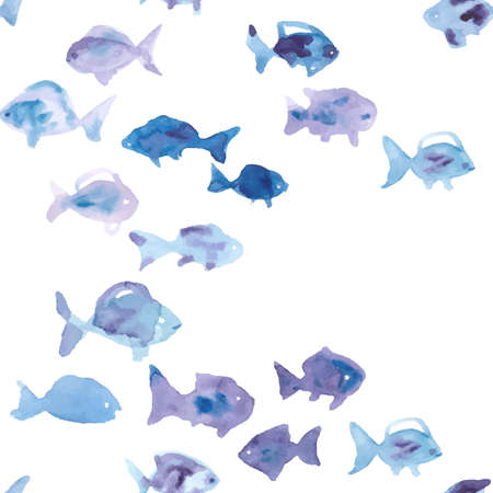 watercolor fish seamless vector pattern