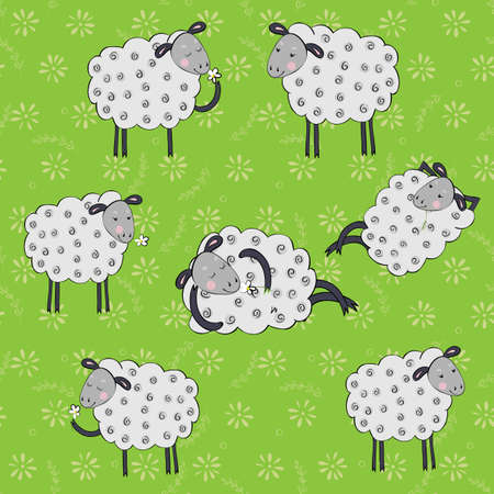 baby sheep: Seamless pattern with cartoon sheeps.Kids vector background. Illustration