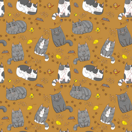 cute cats seamless pattern 向量圖像