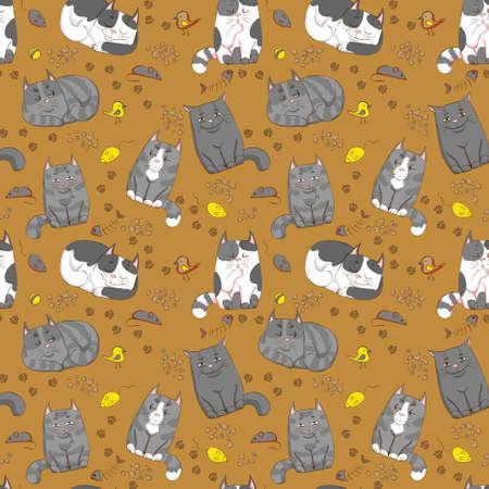 schattige katten naadloos patroon
