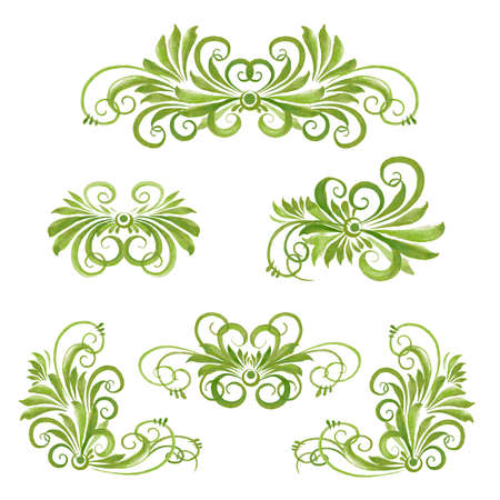 disign: set of watercolor floral disign elements Illustration