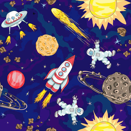 hand drawn space seamless pattern. kids background 向量圖像