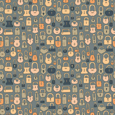 secret number: vintage hand drawn locks seamless pattern