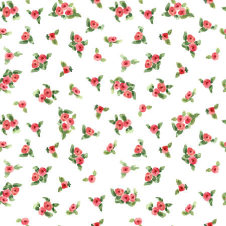 paint swatch: cute watercolor flowers seamless textile pattern. vector illustration