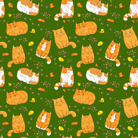 pink pussy: cute cats seamless pattern Illustration