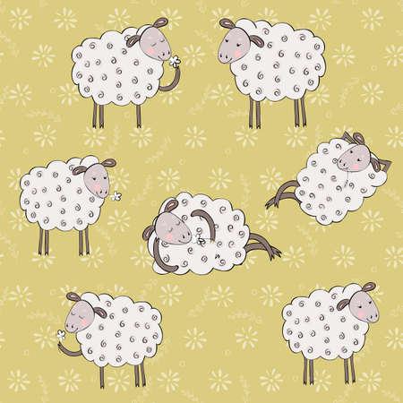 sheeps: cartoon sheeps seamless pattern. kids vector background