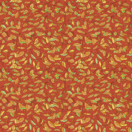 caduto: colorful fallen leaves and branches seamless pattern. autumn background