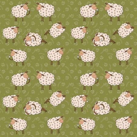 cartoon schapen naadloos patroon