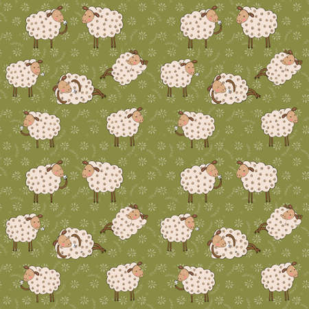 cartoon sheep seamless pattern 向量圖像