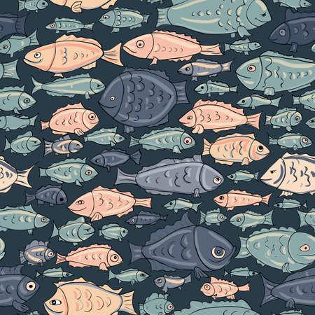sea fish: hand drawn fish seamless pattern