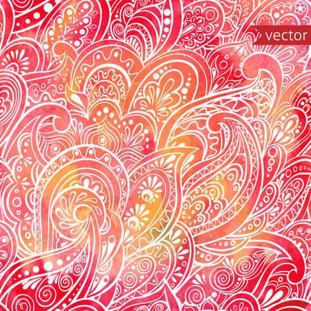 retro floral: watercolor background with seamless paisley pattern