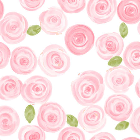 cute hand drawn watercolor roses seamless pattern. vector illustration