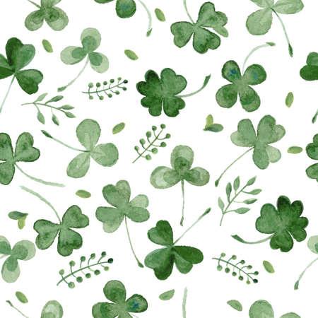 naadloze achtergrond met aquarel klaver en ander gras. vector patroon voor St. Patrick's Day. Stock Illustratie