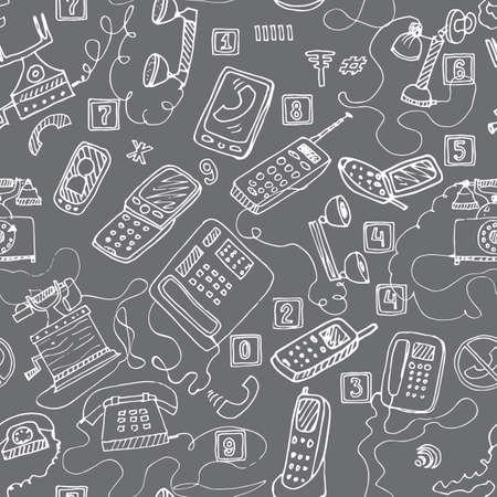 telephones: hand drawn telephones seamless pattern.