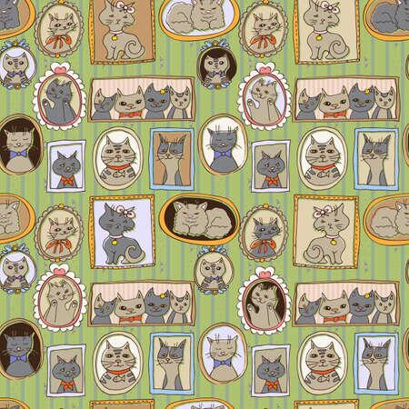 schattige katten portretten naadloos patroon. retro vector achtergrond Stock Illustratie