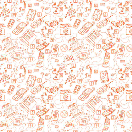 telephone booth: hand drawn telephones seamless pattern.