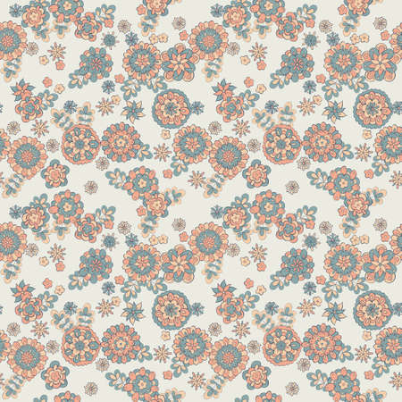 vinous: seamless cute retro flower pattern Illustration
